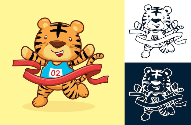 Cute tiger wins by crossing the finish line.   cartoon illustration in flat icon style