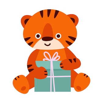 선물 상자가 있는 귀여운 호랑이. 만화 스타일의 벡터 일러스트 레이 션. 흰색 배경에 고립.