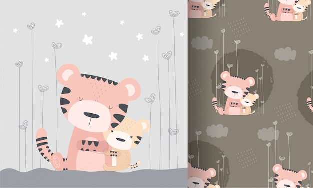 Cute tiger with baby bear seamless pattern