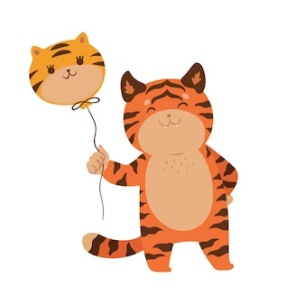 Cute tiger with a balloon isolated on a white background. vector graphics.