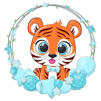 Cute tiger with balloons and a wreath. vector illustration of a cartoon.