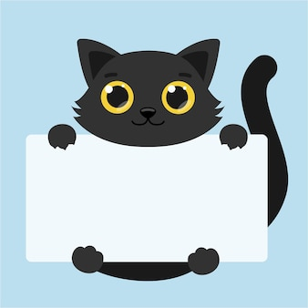 Cute tiger with big eyes. blank banner. vector illustration