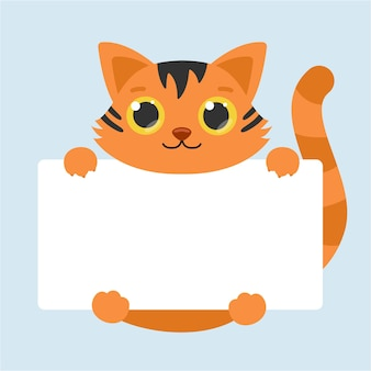 Cute tiger with big eyes. blank banner. vector illustration.