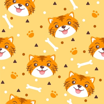 Cute tiger with bones pattern illustrations