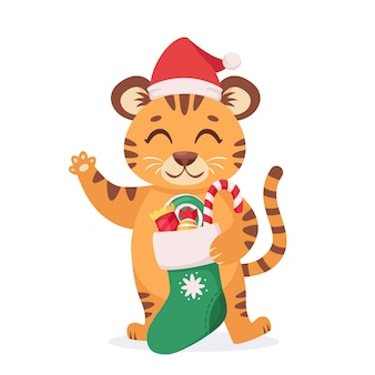 クリスマス靴下とキャンディーのかわいい虎 虎の年