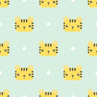 Cute tiger with dot cartoon seamless pattern