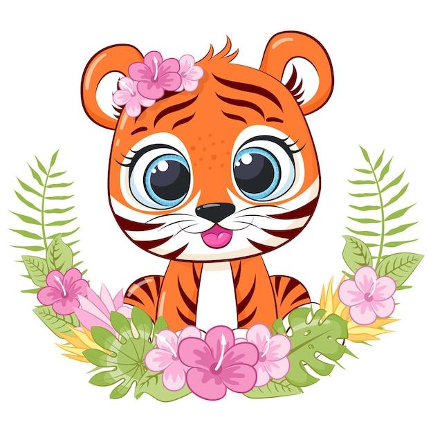 Милый тигр с цветами и венком. мультфильм.