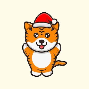 Милый тигр в шляпе рождественский дизайн иллюстрации