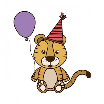 Cute tiger with helium balloon