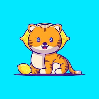 Cute tiger with lemon cartoon illustration. animal flat cartoon style concept