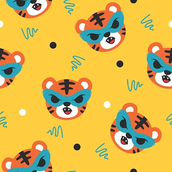 Cute tiger with mask pattern illustration