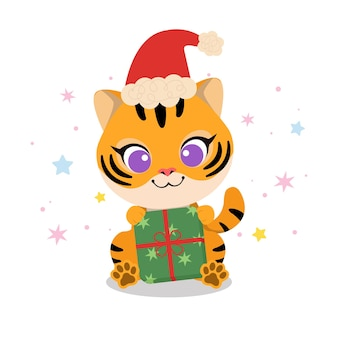 Cute tiger with santa hat and christmas present