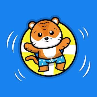Милый тигр с плавательным кольцом иллюстрации шаржа