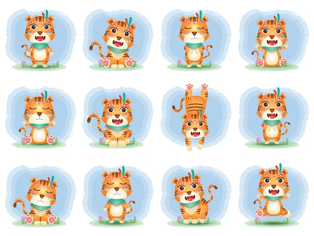 A cute tigers collection with apache costume