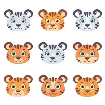 Набор лиц милые тигры
