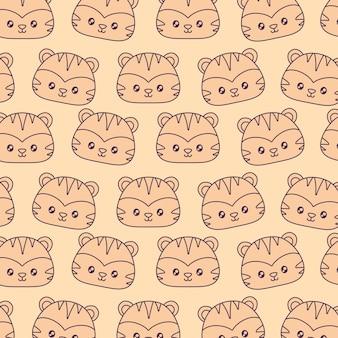 Cute tigers kawaii characters pattern