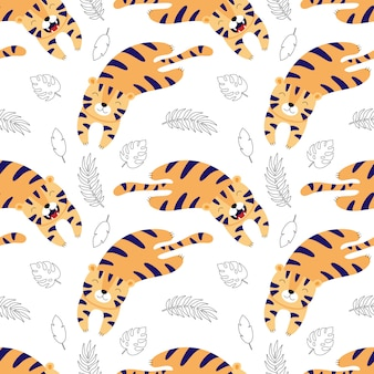 Cute tigers lay, cartoon seamless pattern for children.