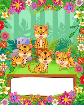Cute tigers with flowers and wood blank sign in the forest. vector