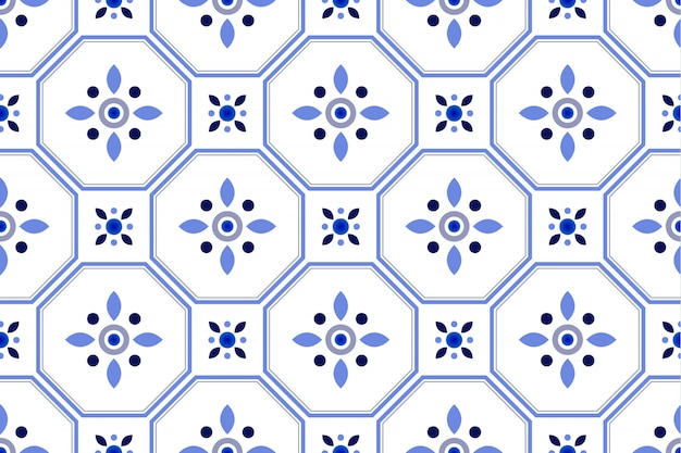 Cute tile pattern, colorful decorative floral seamless background