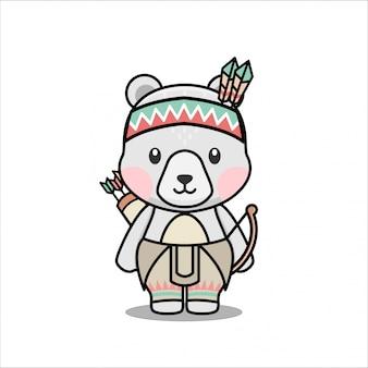 Симпатичный крохотный полярный персонаж из натурального американского маскота-талисмана