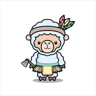 Дизайн характера маскота природного американского животного маскота милый крошечной овецы