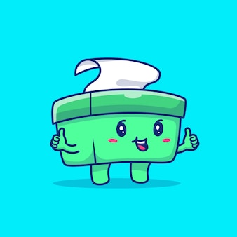 Cute tissue box cartoon   icon illustration. healthy mascot character. health and medical icon concept isolated