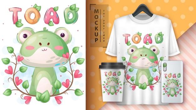 Милая жаба в цветочном плакате и мерчендайзинге.
