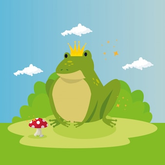 Cute toad in scene fairytale