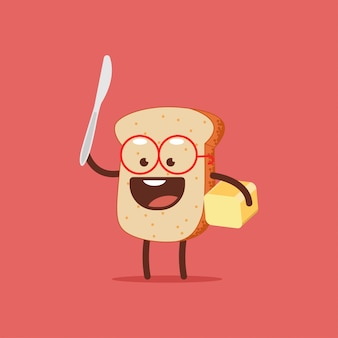 Cute toast with butter and knife.