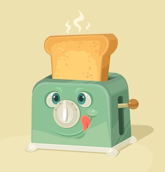 Cute toaster character and toasted bread