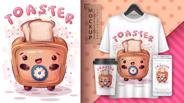 Cute toaster poster and merchandising