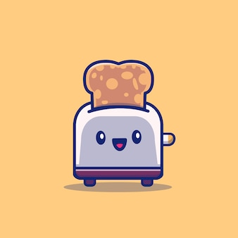 Cute toaster with bread cartoon   icon illustration. breakfast food icon concept isolated  . flat cartoon style