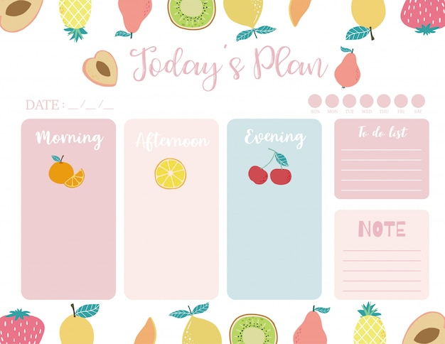 Cute today plan background with orange
