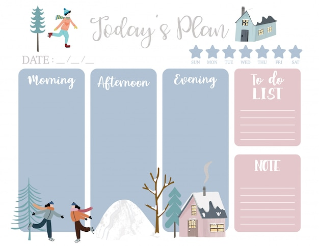 Cute today plan with house, snow, people, tree.
