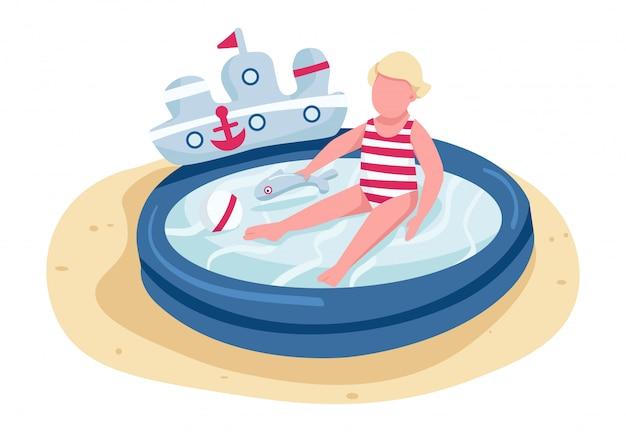 Милый малыш играет с игрушками в надувном бассейне плоского цвета безликого персонажа