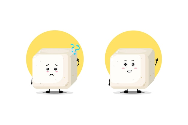 Cute tofu character with confused and happy expression