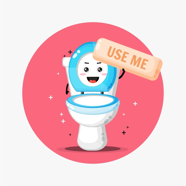 Cute toilet bowl mascot asks to be used