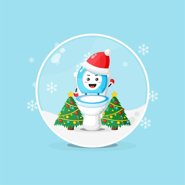 Cute toilet bowl wearing a christmas hat in a snowglobe
