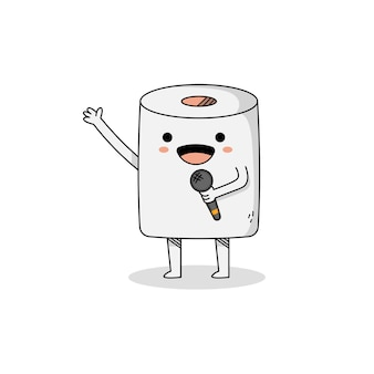 Cute toilet paper cartoon character using a microphone singing