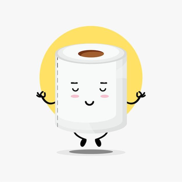 Симпатичный персонаж туалетной бумаги в позе йоги