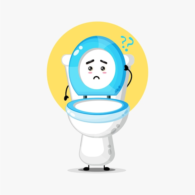 Cute toilet seat character confused