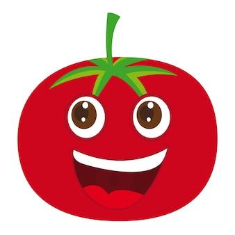 Симпатичный томатный мультфильм на белом фоне