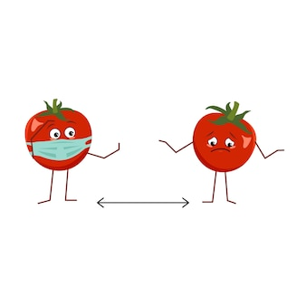 Cute tomato character with mask keep distance isolated on white background. the funny or sad hero, red fruit and vegetable. vector flat illustration