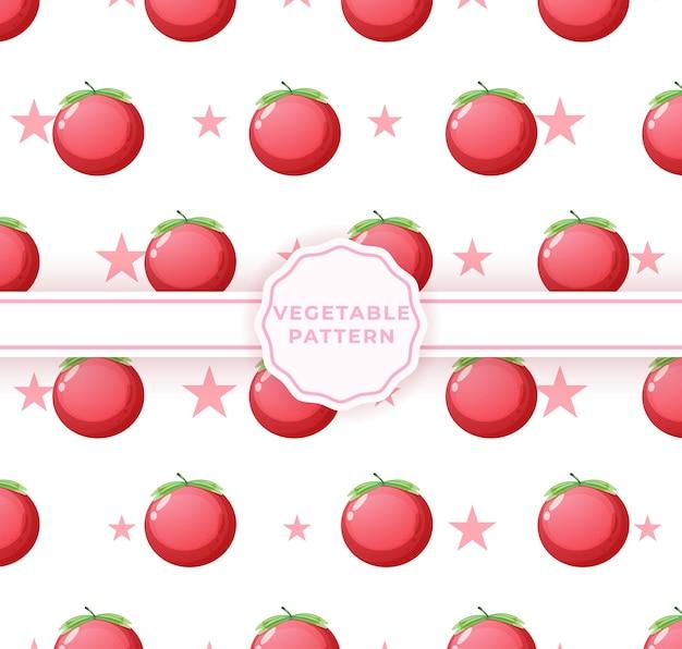 かわいいトマトのシームレスなパターン。かわいい野菜柄