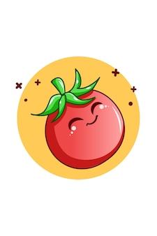 Симпатичные помидоры овощи иллюстрации шаржа