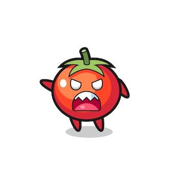 Симпатичный мультяшный помидор в очень злой позе, милый стильный дизайн для футболки, стикер, элемент логотипа