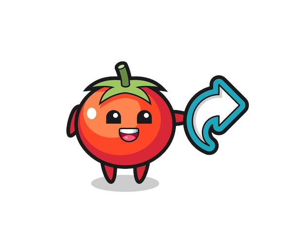 Симпатичные помидоры содержат символ доли в социальных сетях, милый стильный дизайн для футболки, стикер, элемент логотипа