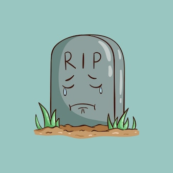 Cute tombstone illustration with sad face or expression