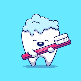 Cute tooth brushing   icon illustration. dental health icon concept isolated  . flat cartoon style