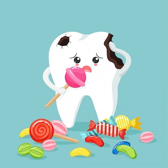 Cute tooth characters feel bad in flat style. unhealthy teeth plaque and caries hole with colorful candy.